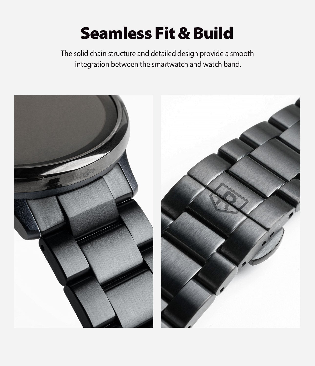 ringke metal one band stainless silver watch band for galaxy watch active 2 44mm seamless fit and build with the solid chain structure