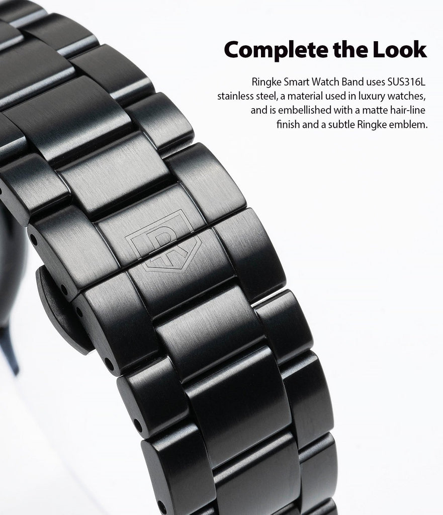 ringke metal one band stainless silver watch band for galaxy watch active 2 44mm embellished with a matte hairline finish