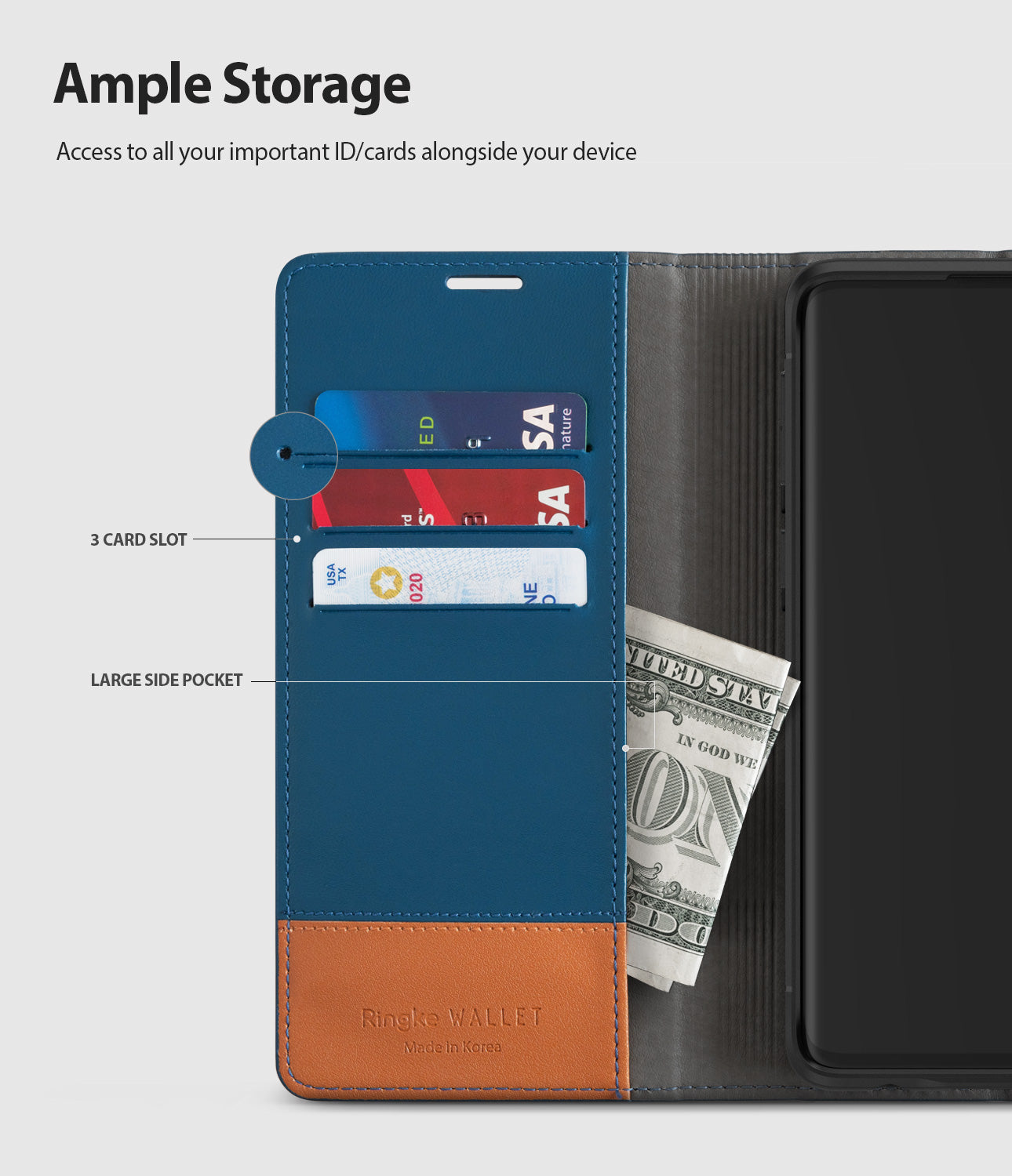 galaxy s10 plus wallet navy & brown