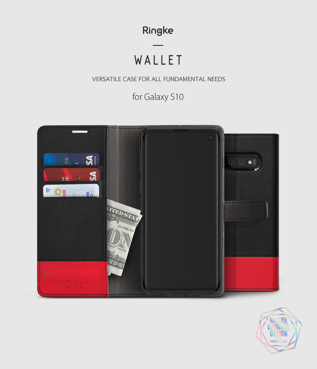 galaxy s10 wallet black and red