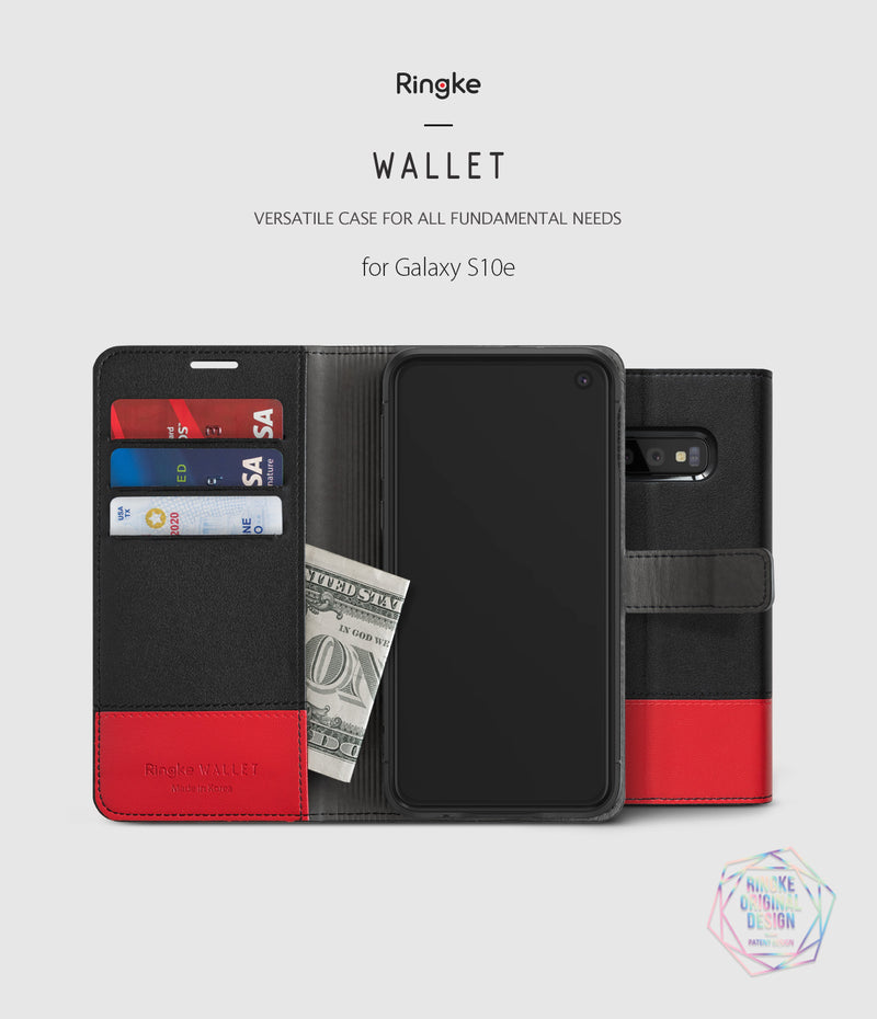 galaxy s10e wallet black & red