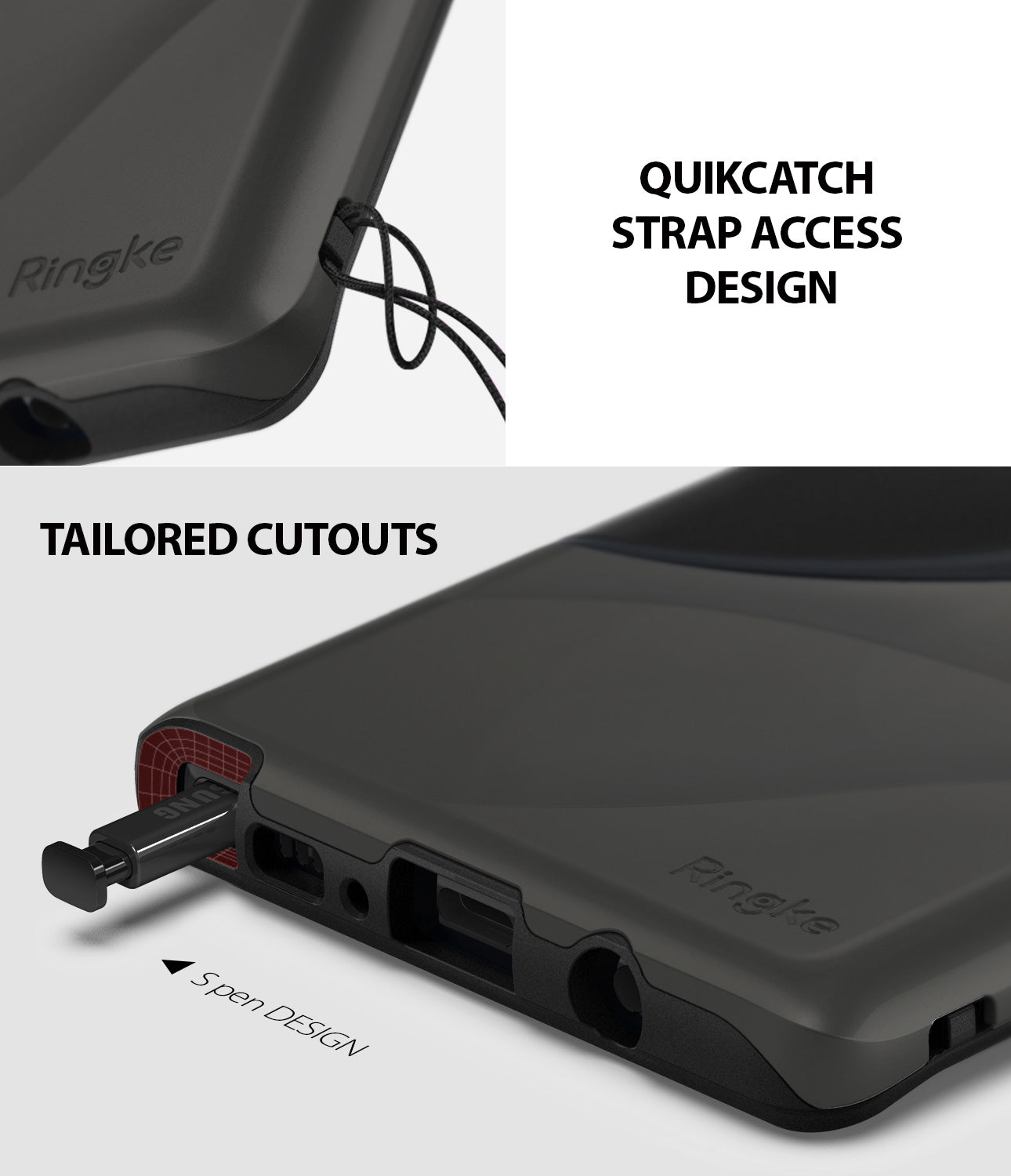 quikcatch strap access design and tailored cutouts