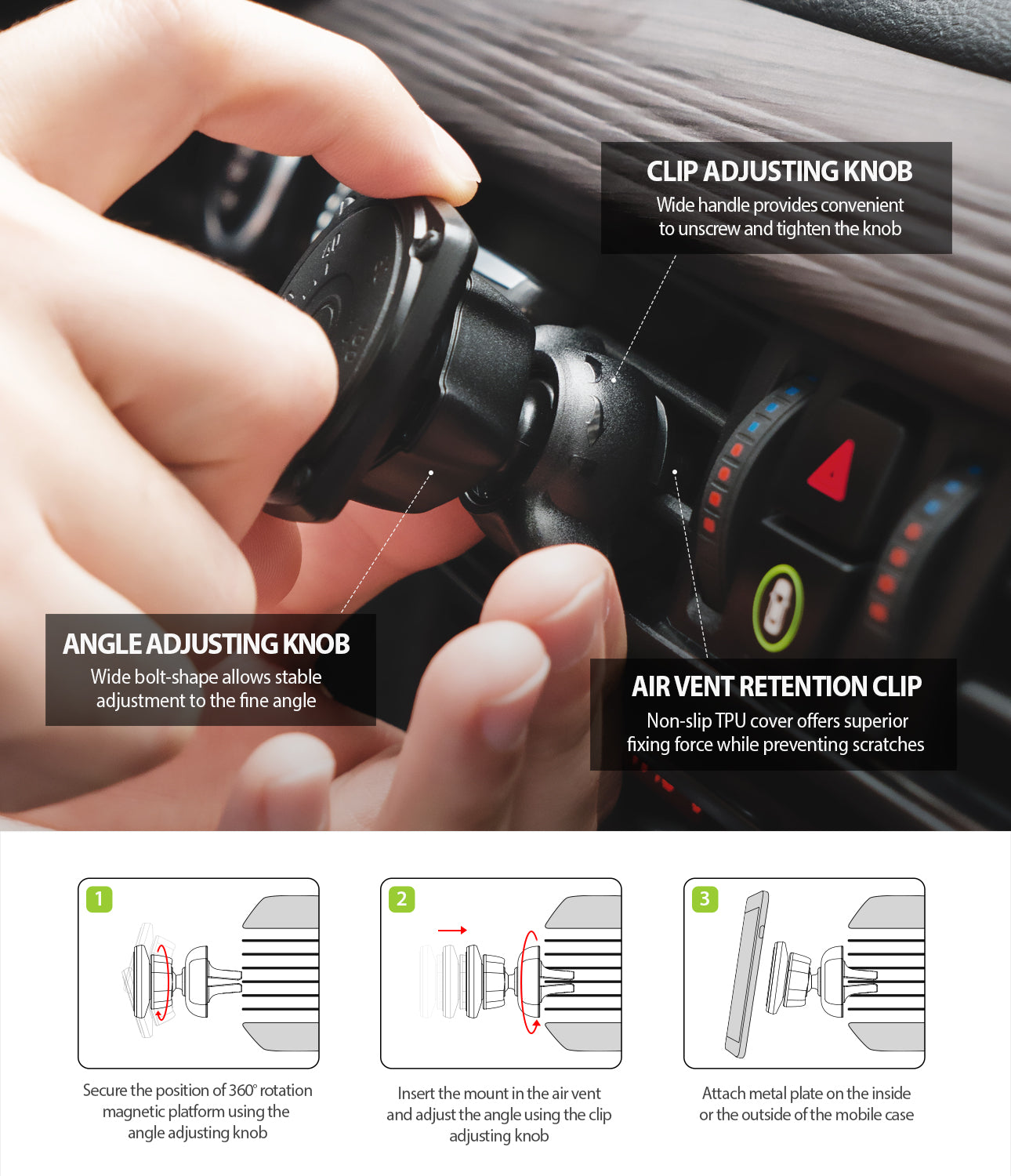 power Clip Air Vent Car Mount - installation guide