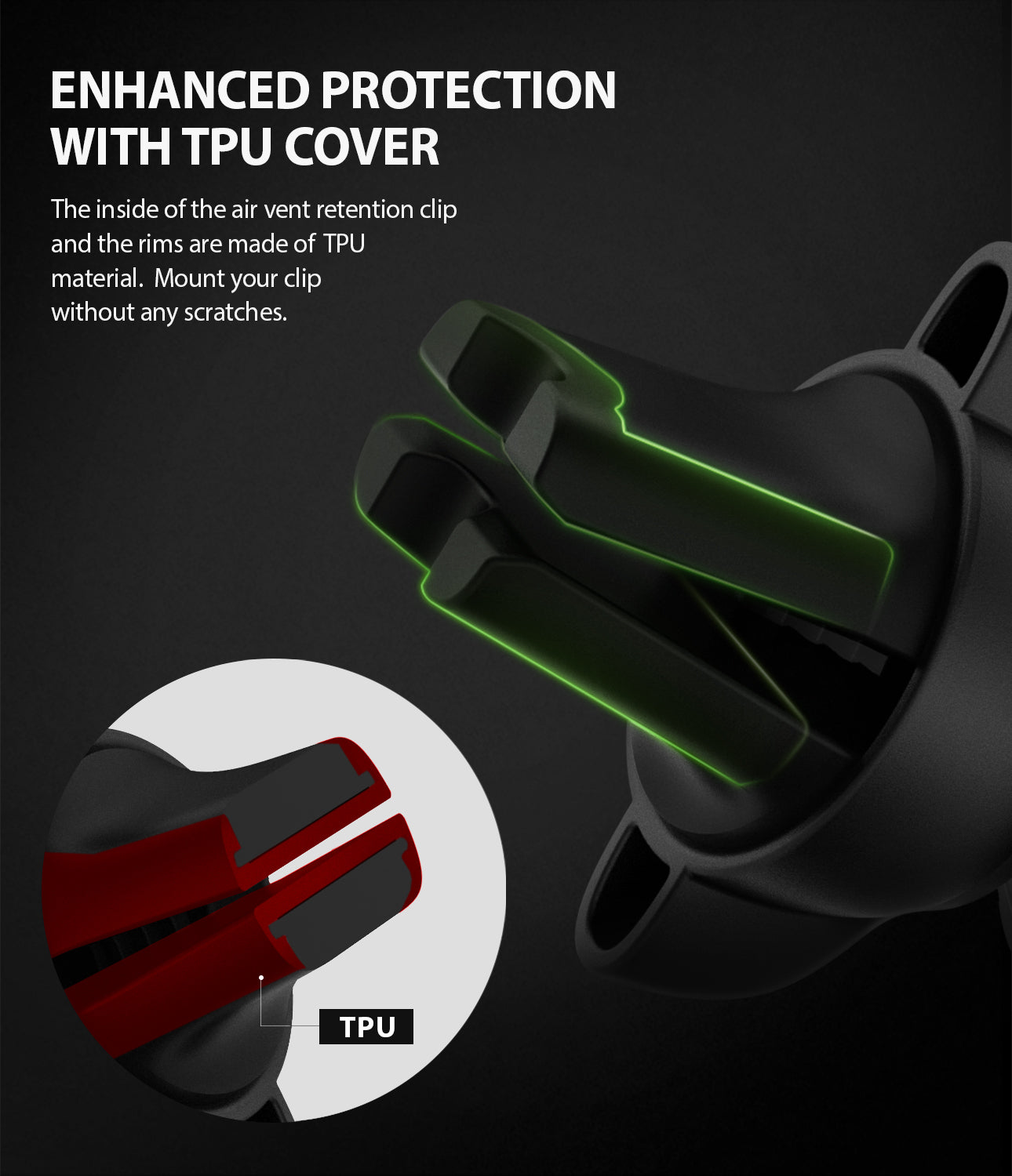 power Clip Air Vent Car Mount - enhanced protection with tpu cover