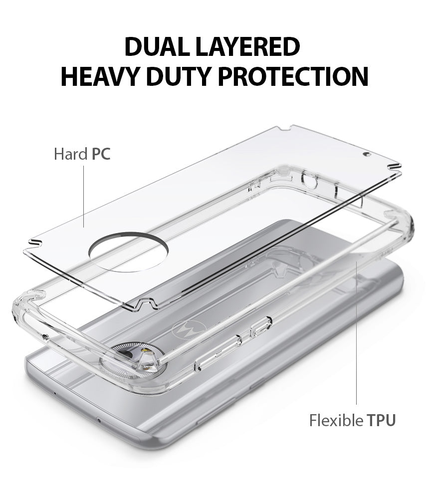 ringke fusion clear transparent hard pc back case cover for moto g6 main dual layered protection
