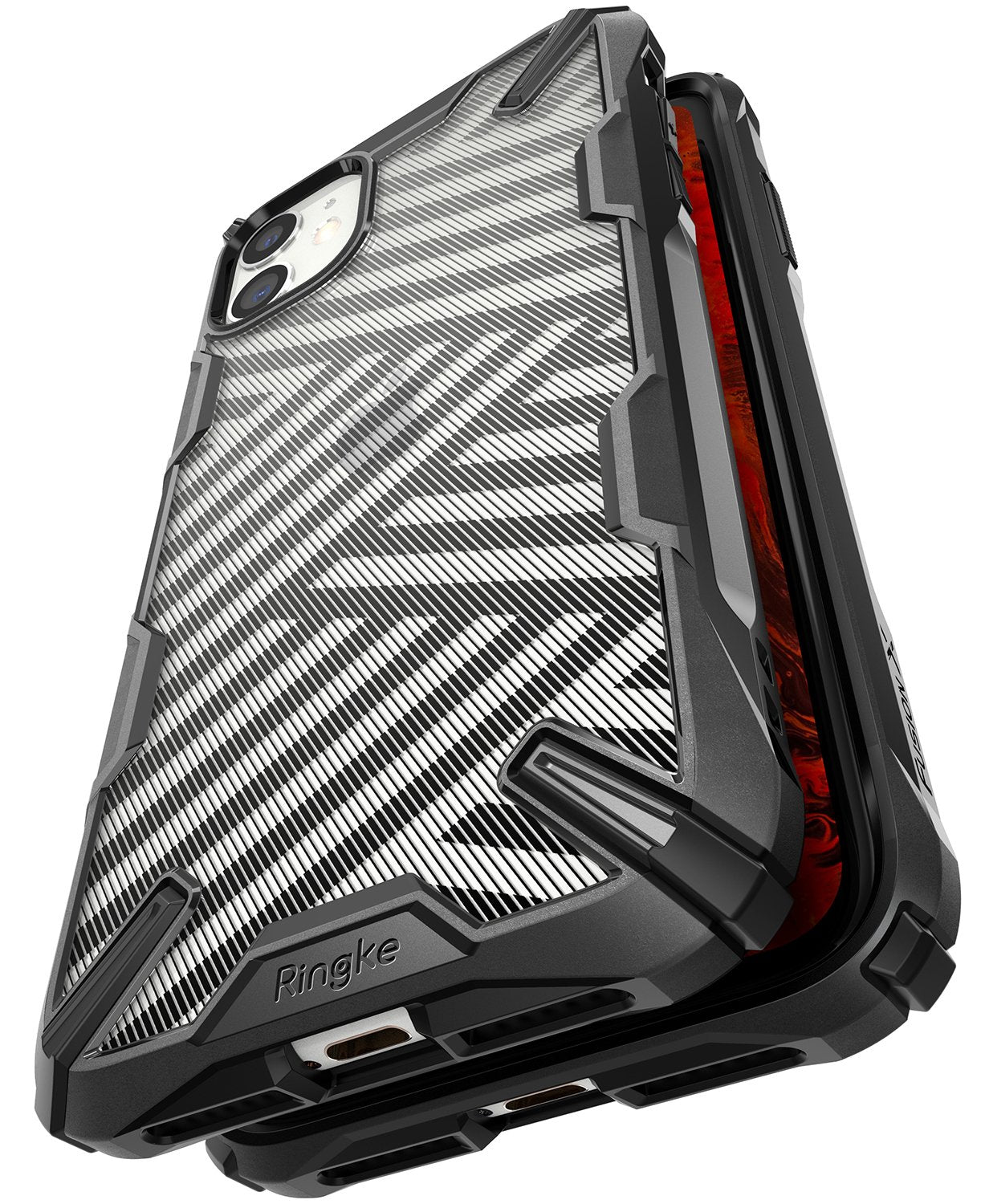 Ringke Fusion X Design Case Compatible with iPhone 11 Case Stripe Black