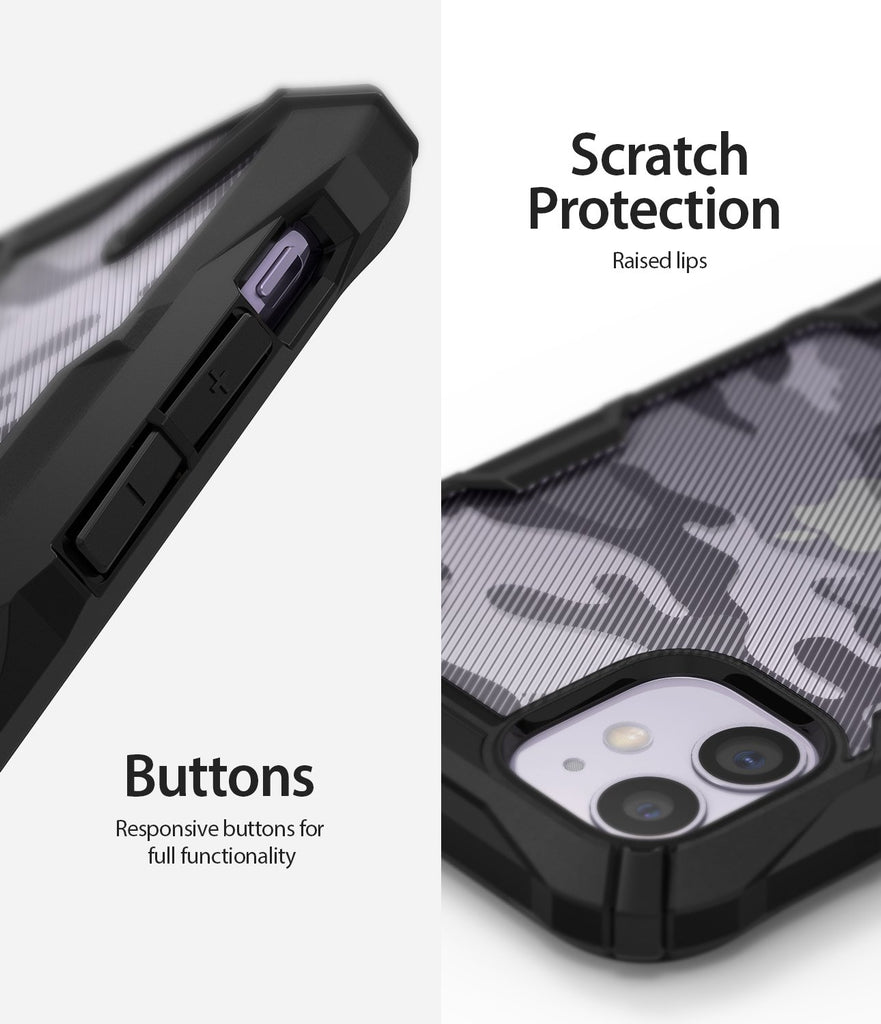 Ringke Fusion X Design Case Compatible with iPhone 11 Case Camo Black Scratch Protection buttons