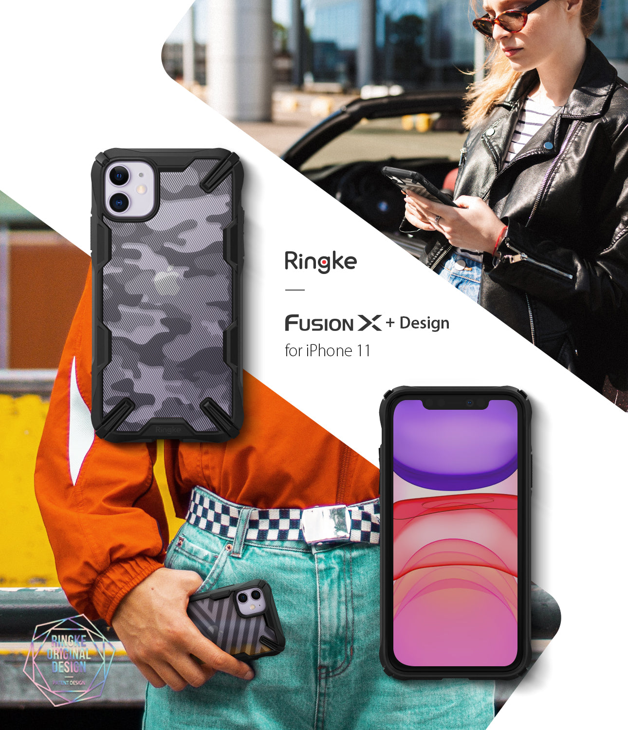 Ringke Fusion X Design Case Compatible with iPhone 11 Case Camo Black