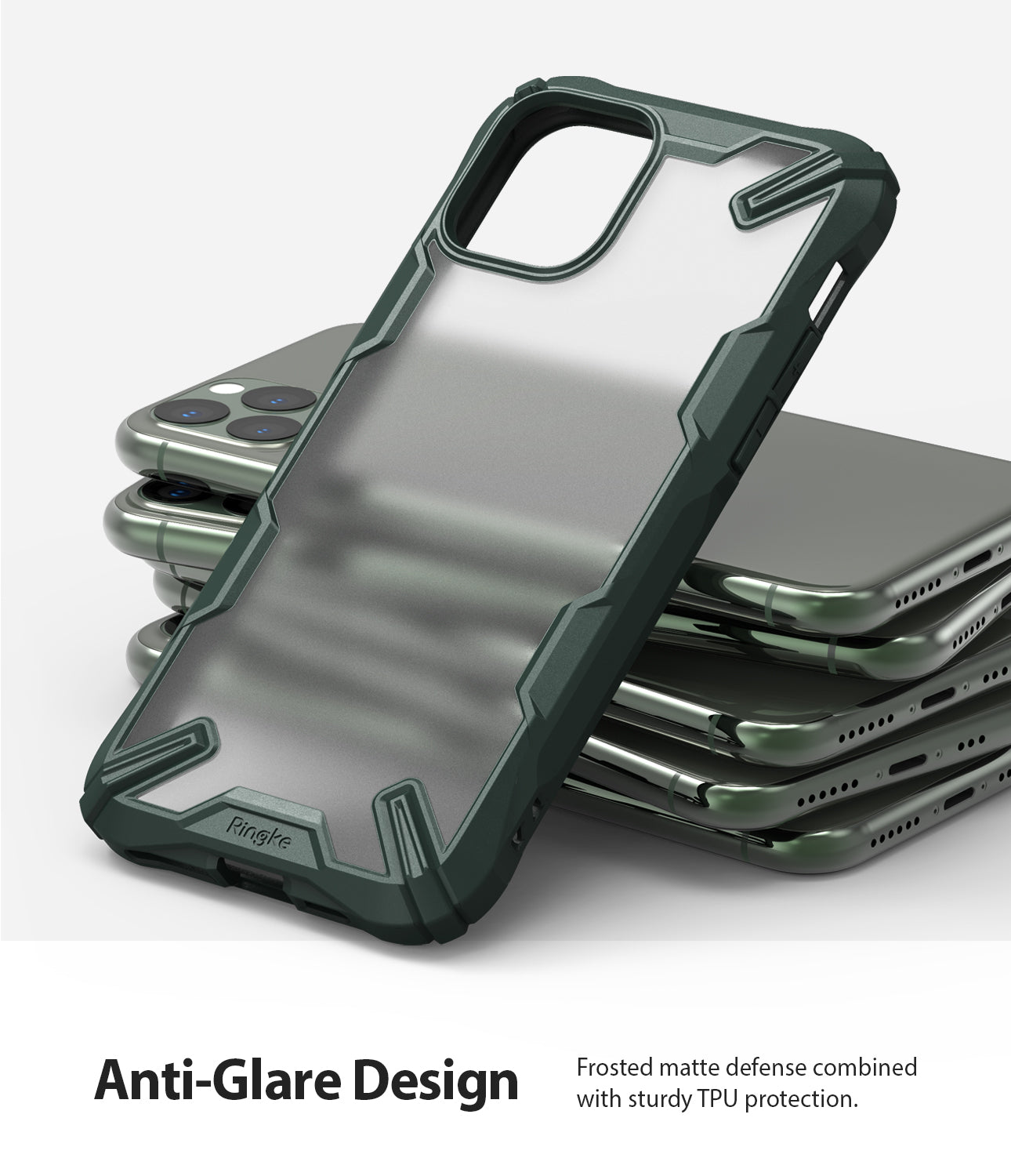 Ringke Fusion-X Matte Designed Case for iPhone 11 Pro Matte Dark Green anti-glare design