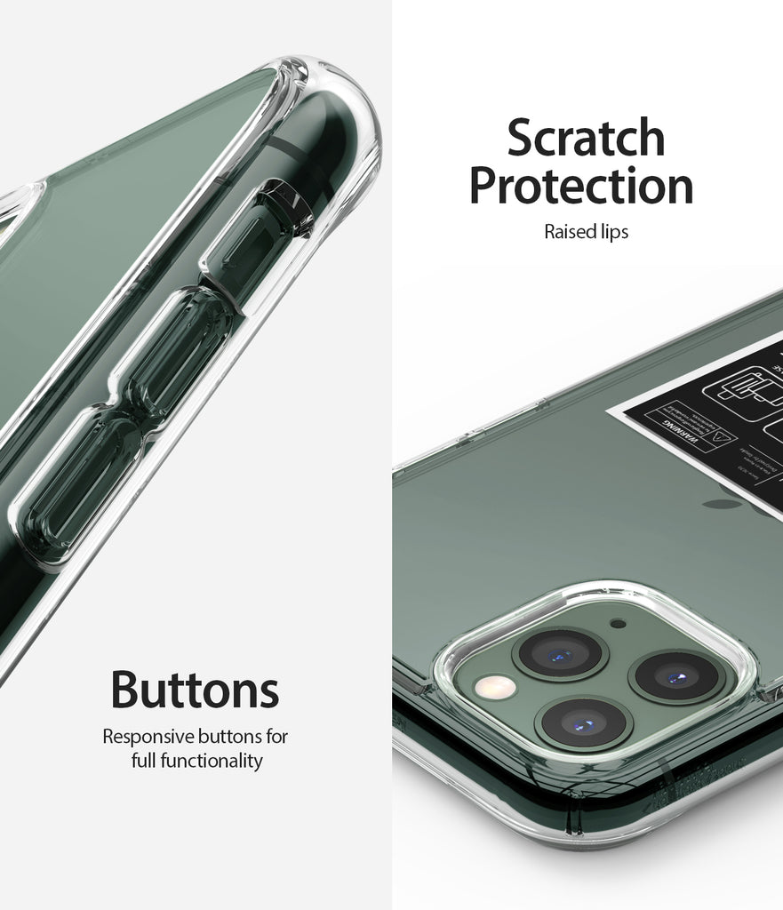 scratch protection with raised lips / responsive buttons