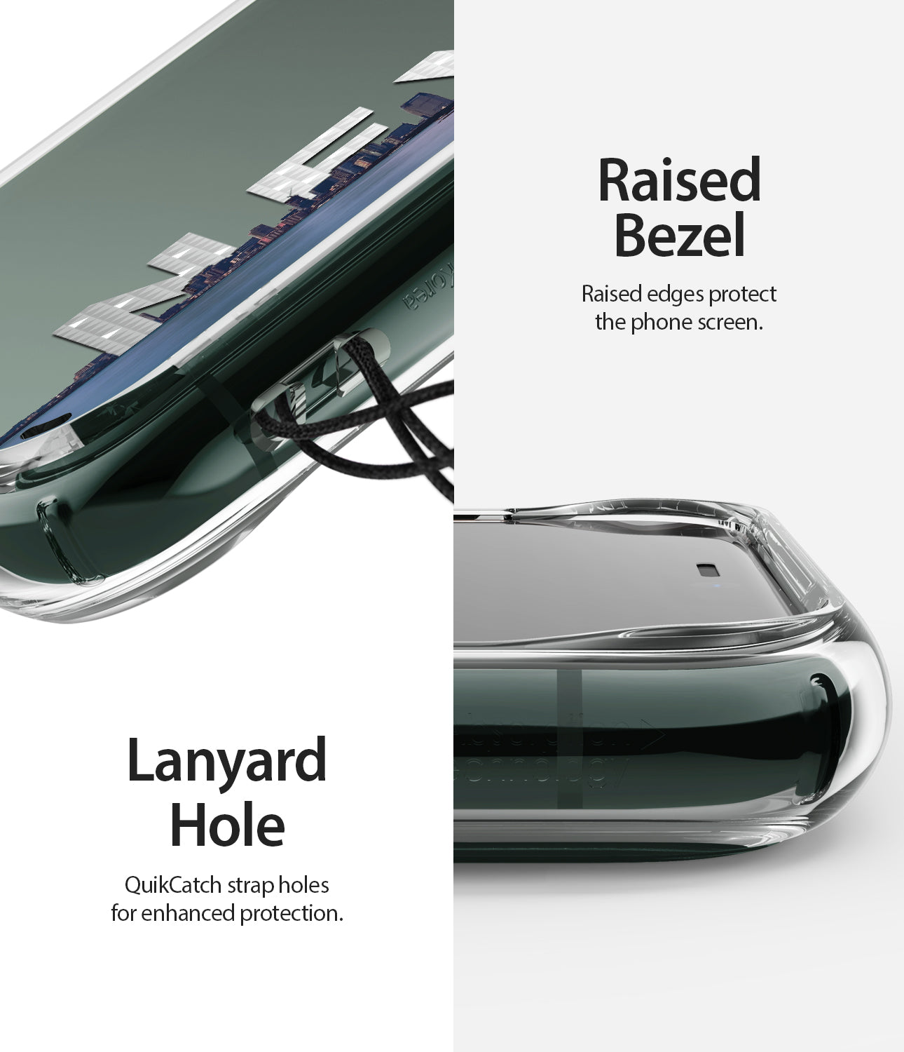 rasied bezel to protect the phone screen & camera / lanyard hole on the side to attach additional accessories