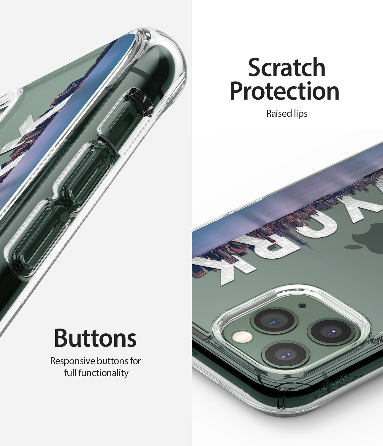 scratch protection, responsive buttons