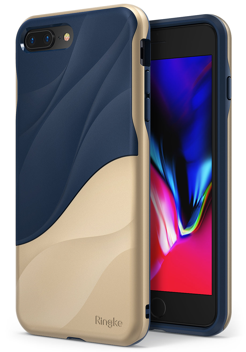 ringke wave dual layered design protective case cover for iphone 7 plus 8 plus main marina gold