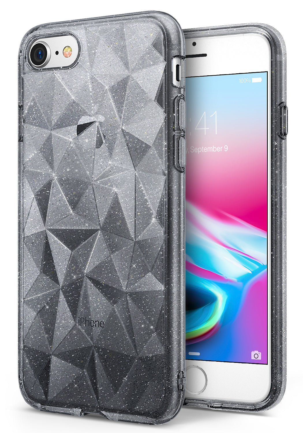 ringke air prism 3d pyramid design back case cover for iphone 7 8 main glitter clear