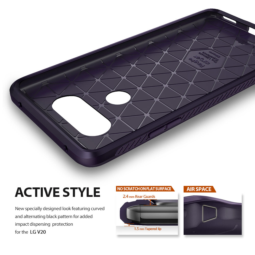active style - curved and alternating pattern for added impact dispersing protection for the lg v20