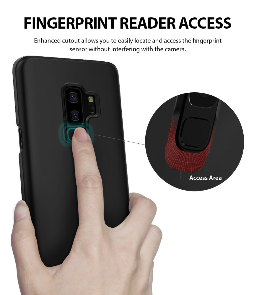 ringke slim lightweight thin hard pc back cover for galaxy s9 plus fingerprint reader access