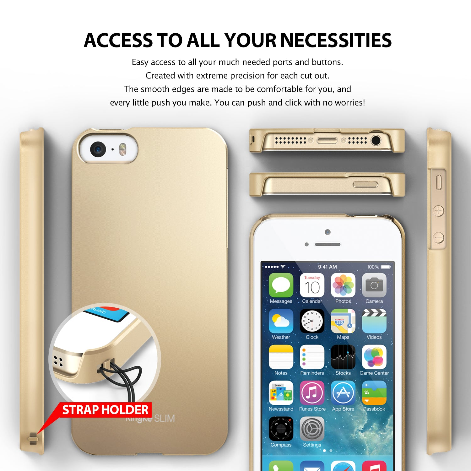 ringke slim lightweight hard pc thin case cover for iphone se 5s 5 main access all ports