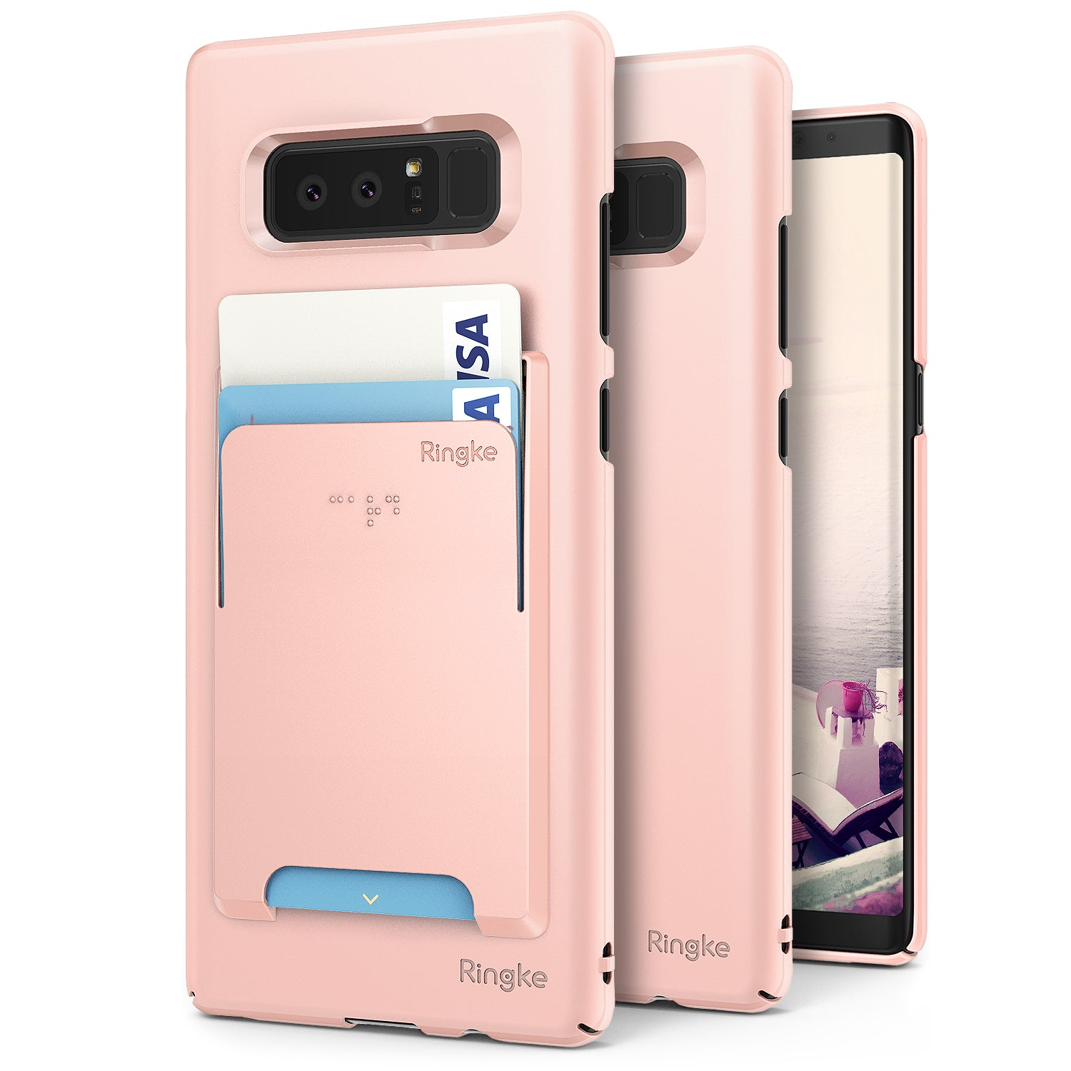 samsung galaxy note 8 ringke slim case case peach pink