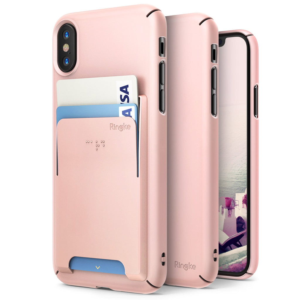 ringke slim slot for iphone x case cover main peach pink