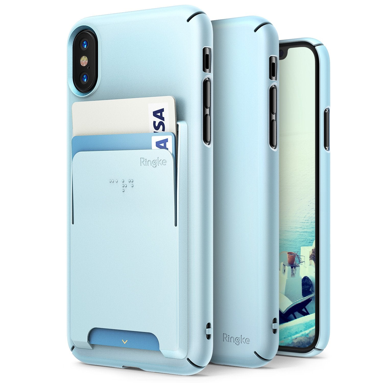 ringke slim slot for iphone x case cover main sky blue