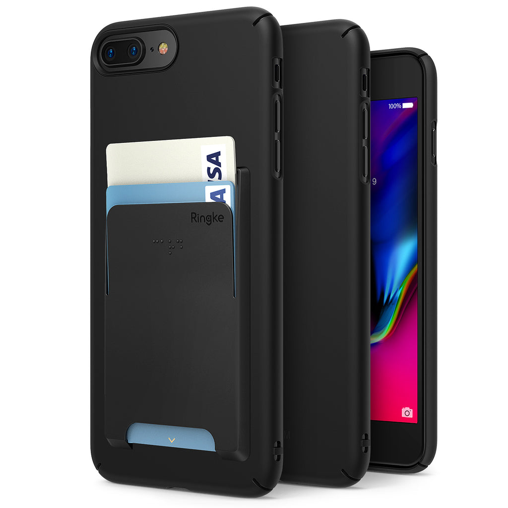 ringke slim slot hard pc thin case cover with card holder main black