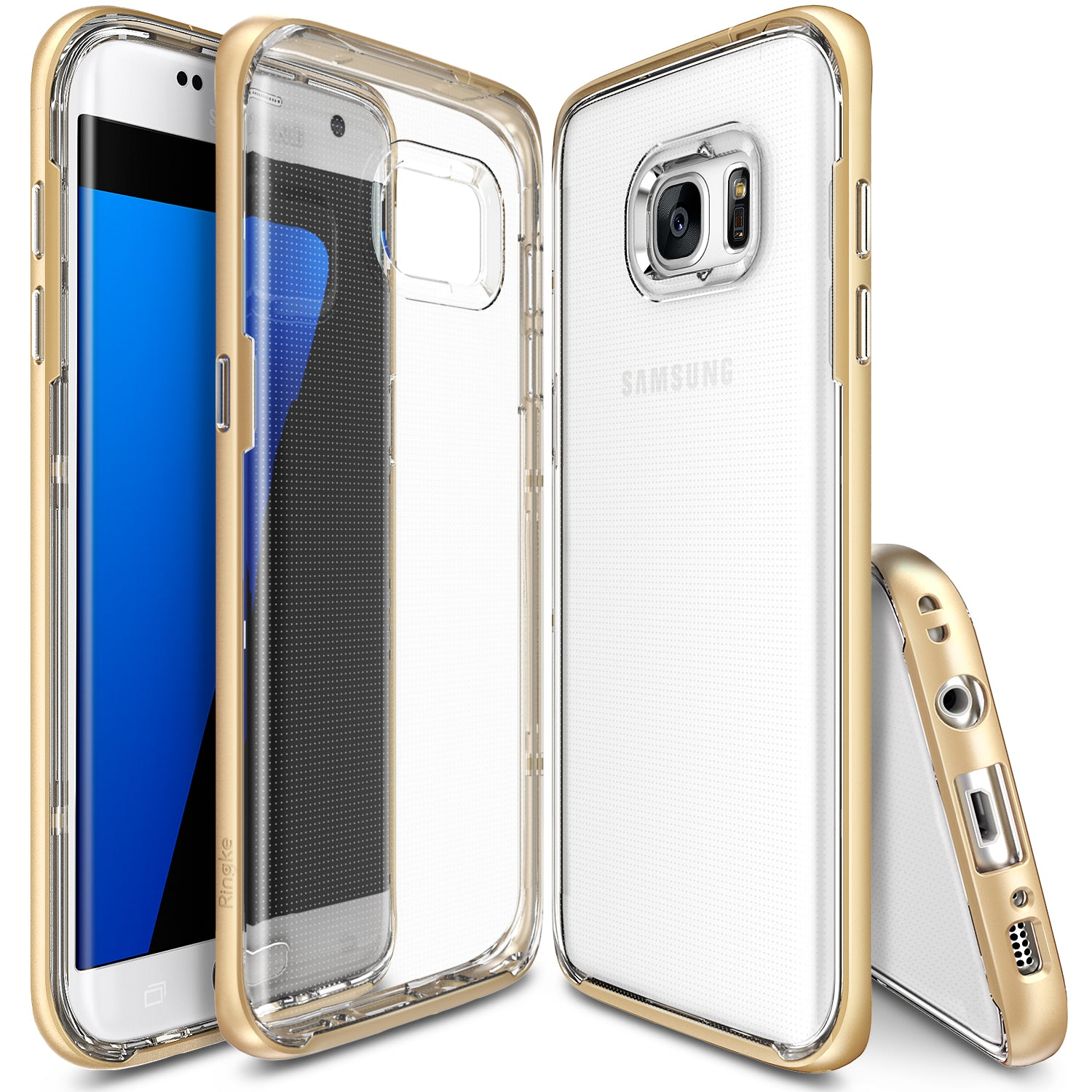 ringke frame clear back advanced bumper protection cover case for galaxy s7 edge royal gold