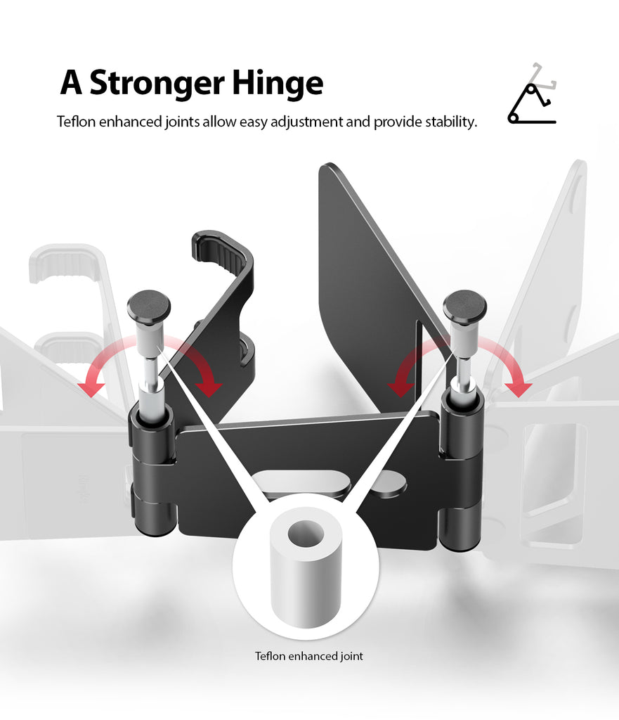 a stronger hinge Teflon enhanced joints allow easy adjustments and provide stability