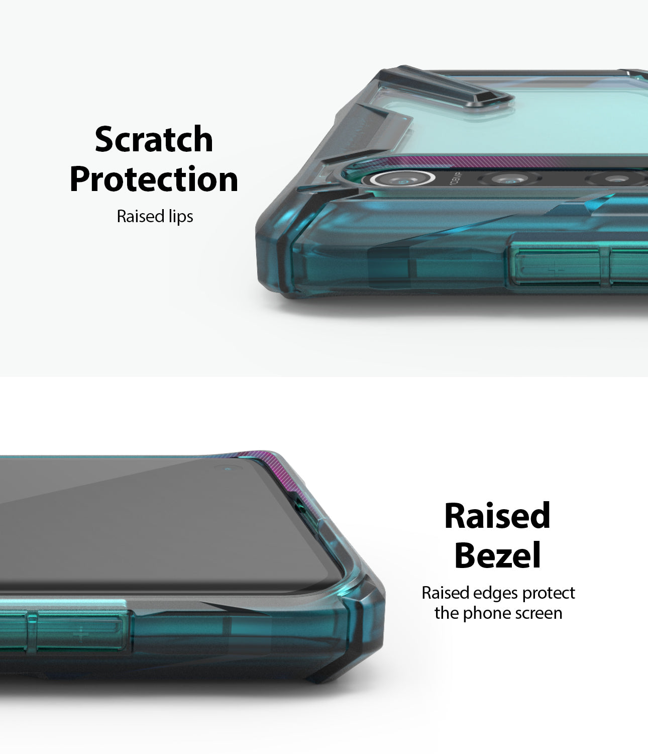 scratch protection with raised lips, raised bezel to protect the screen and camera