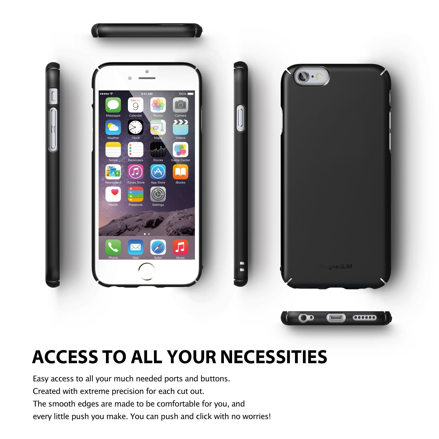 ringke slim lightweight hard pc thin case cover for iphone 6 plus main access to all ports