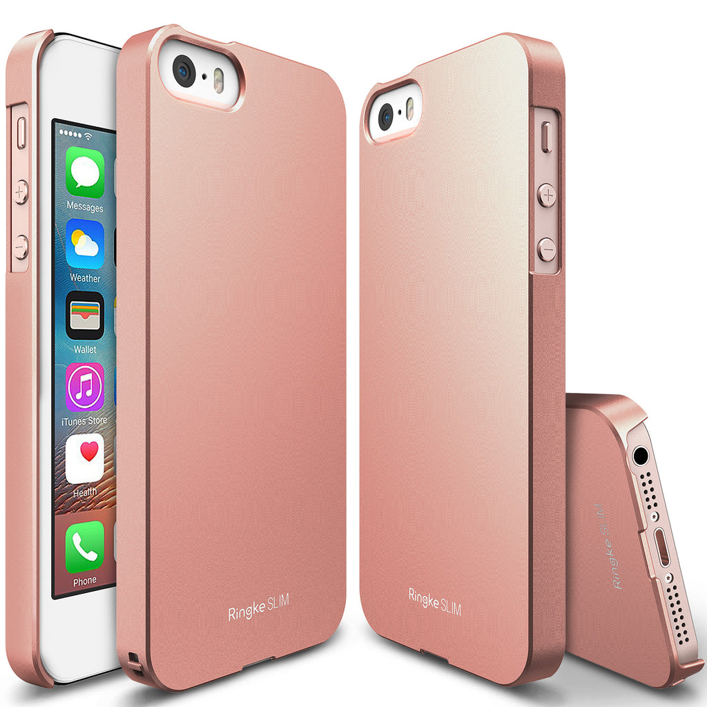 ringke slim lightweight hard pc thin case cover for iphone se 5s 5 main rose gold