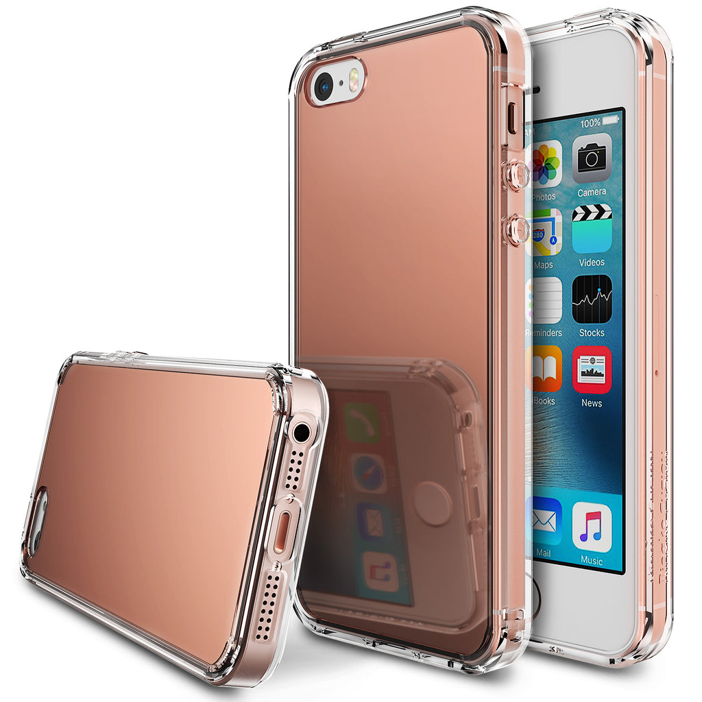 ringke mirror back case cover for iphone se 5s 5 main rose gold