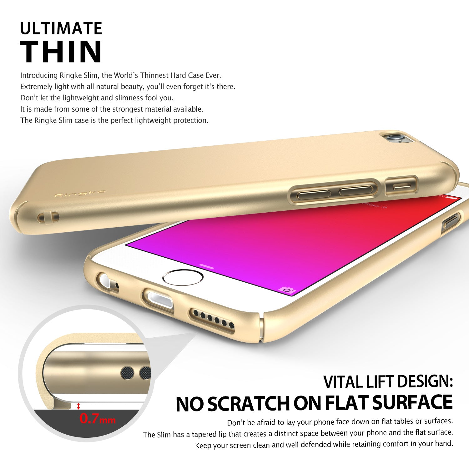 ringke slim lightweight hard pc thin case cover for iphone 6s main rose gold