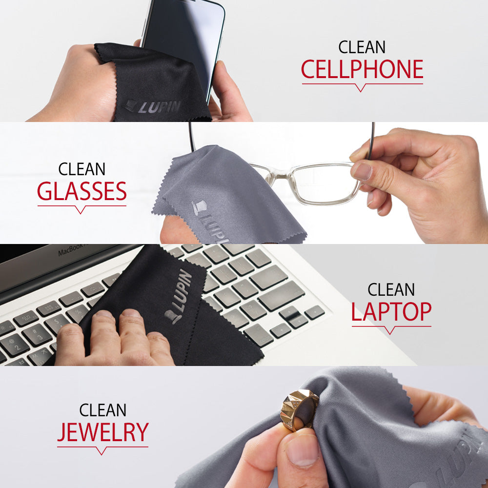 clean smartphone, glasses, laptop, jewelry