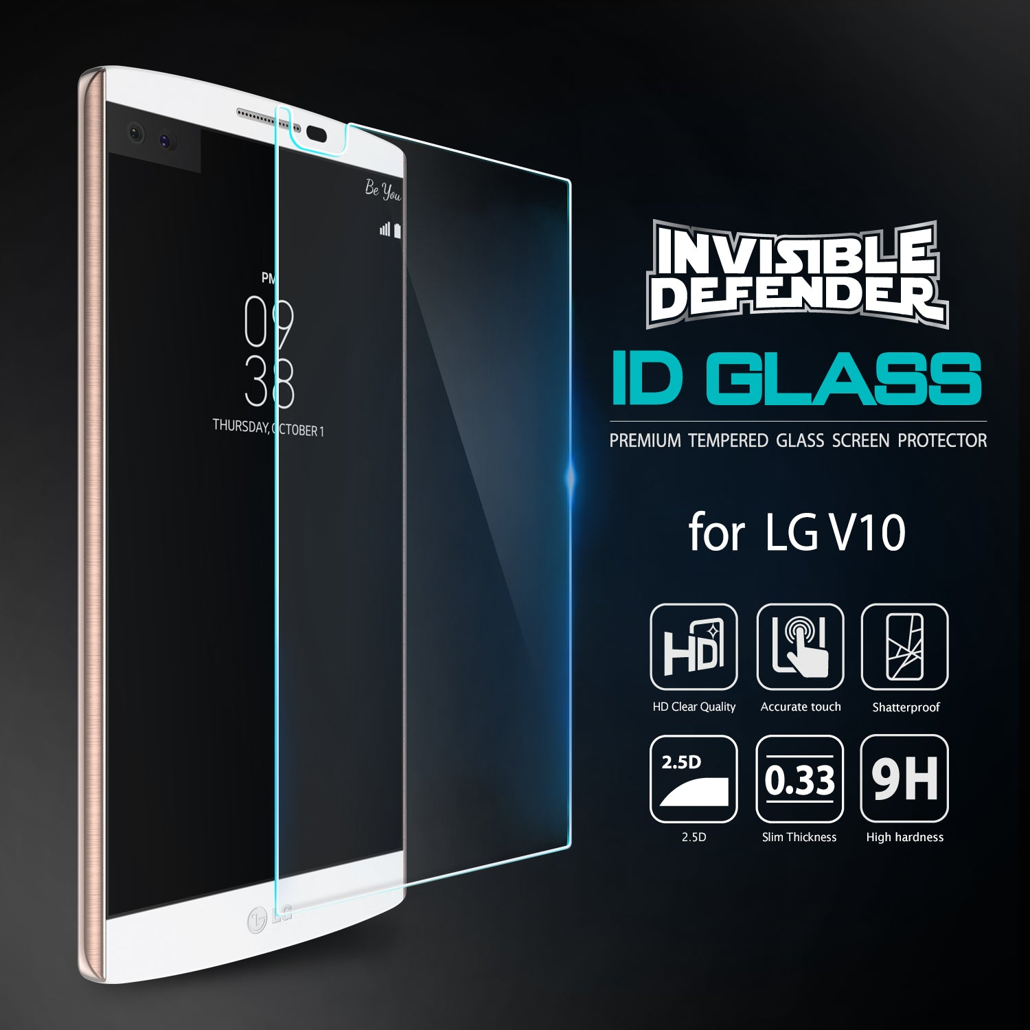 lg v10, ringke invisible defender 0.33mm tempered glass screen protector