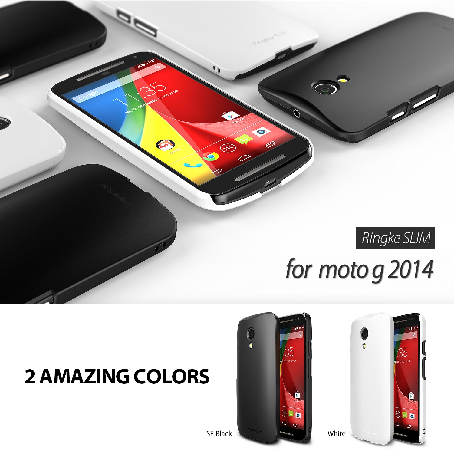 ringke slim thin lightweight hard pc back case cover for moto g 2014 2nd gen