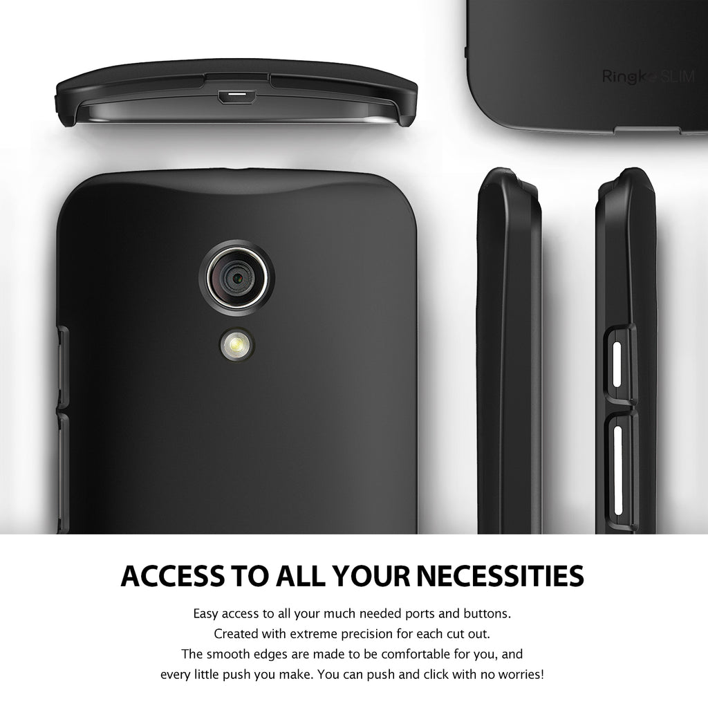 ringke slim thin lightweight hard pc back case cover for moto g 2014 2nd gen access to all ports
