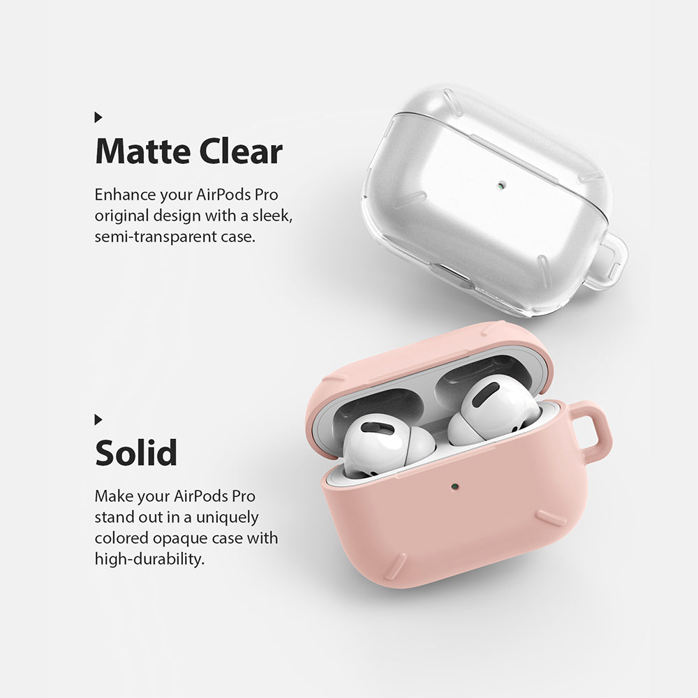 ringke layered case for apple airpods pro made with scratch resistant hard pc - matte clear or solid peach pink available
