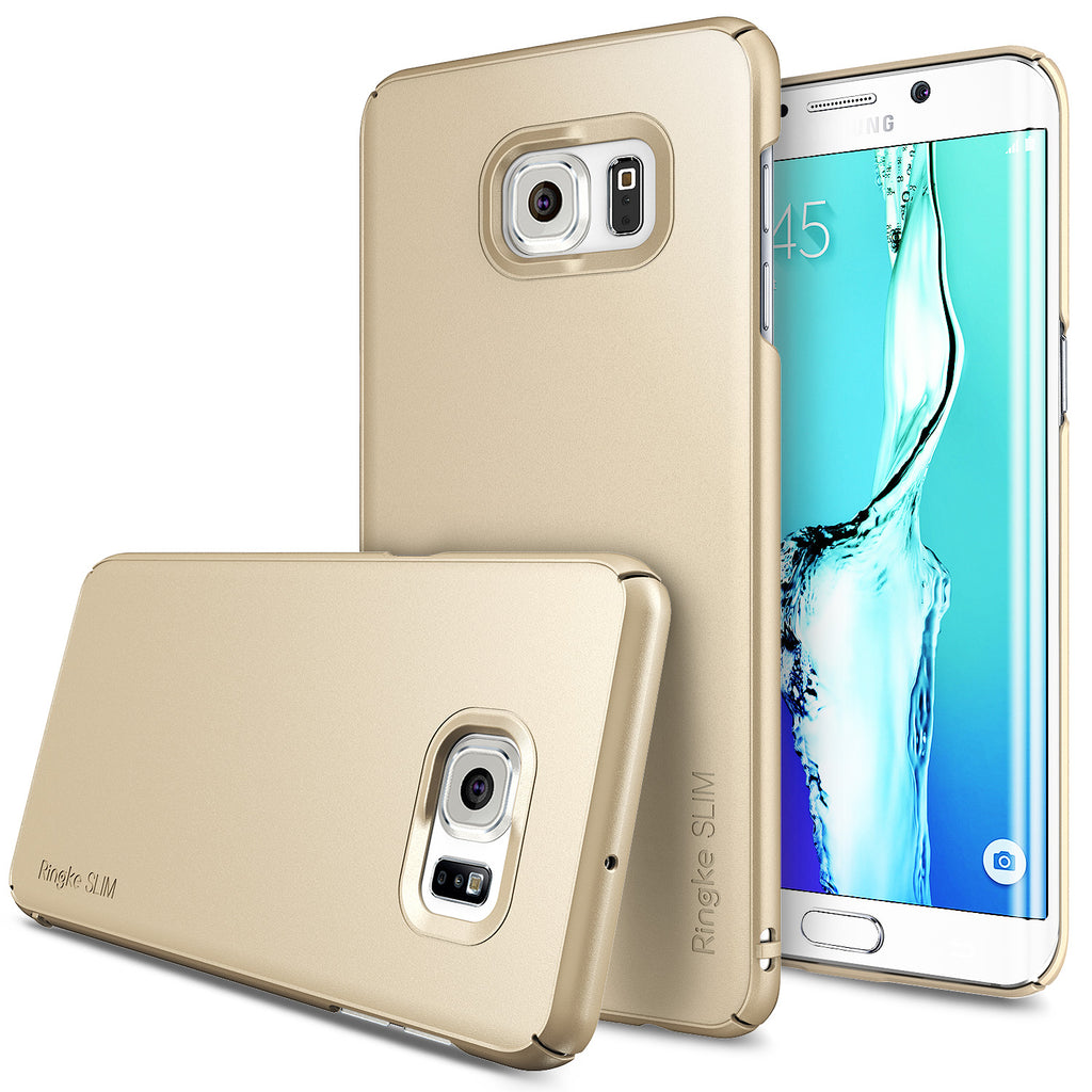 ringke slim premium thin hard pc lightweight cover case for galaxy s6 edge plus royal gold