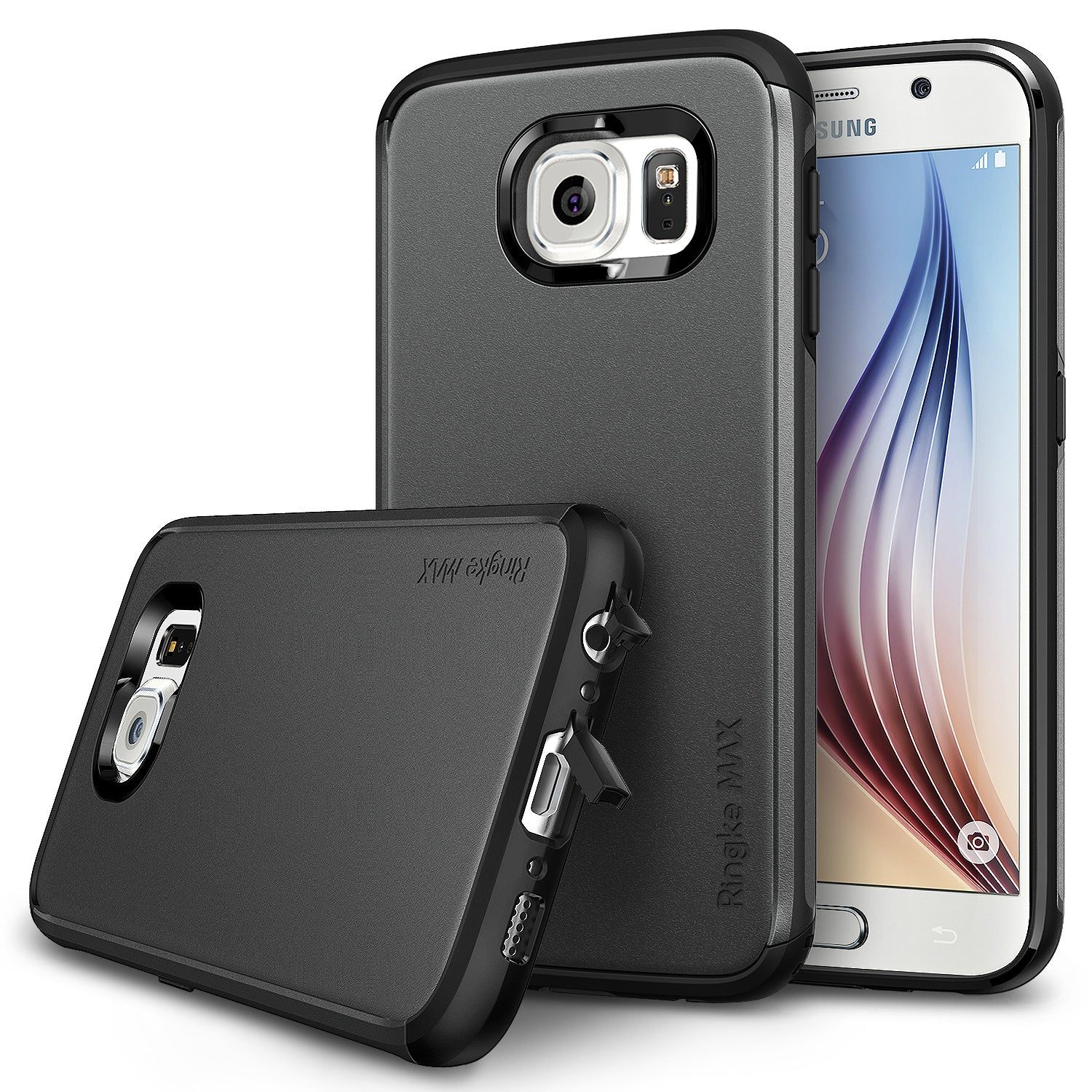 ringke max dual layered heavy duty protective cover case for galaxy s6 gunmetal