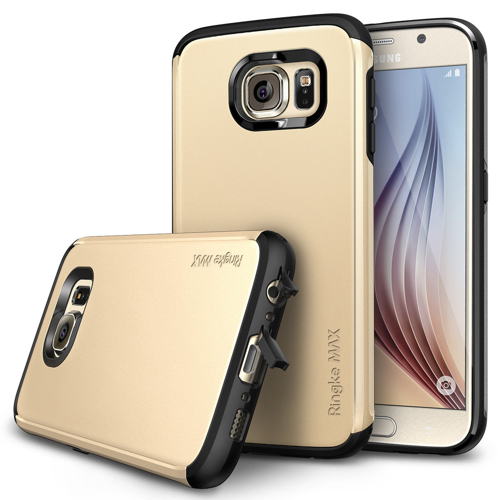 ringke max dual layered heavy duty protective cover case for galaxy s6 royal gold