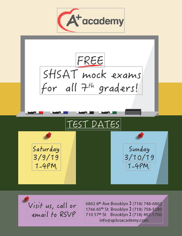 Free SHSAT mock exam this year at our 3 Brooklyn locations
