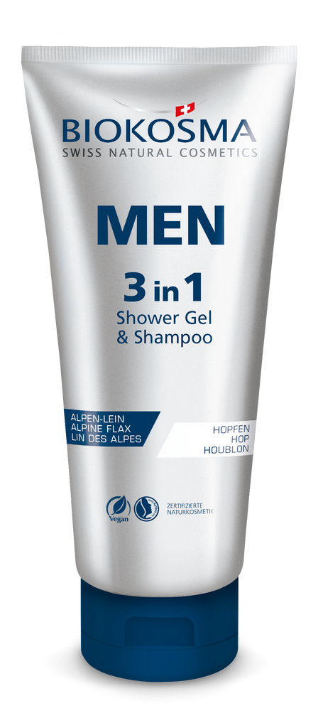 Biokosma Men 3in1 Shower Gel & Shampoo & Face Wash 200ml