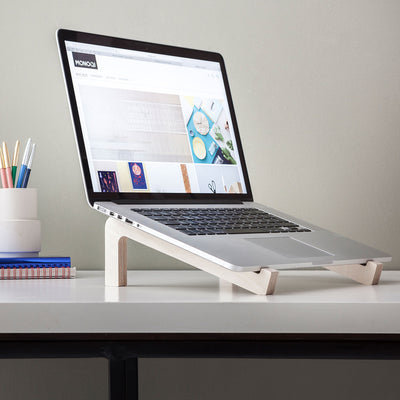 wooden laptop riser for desk