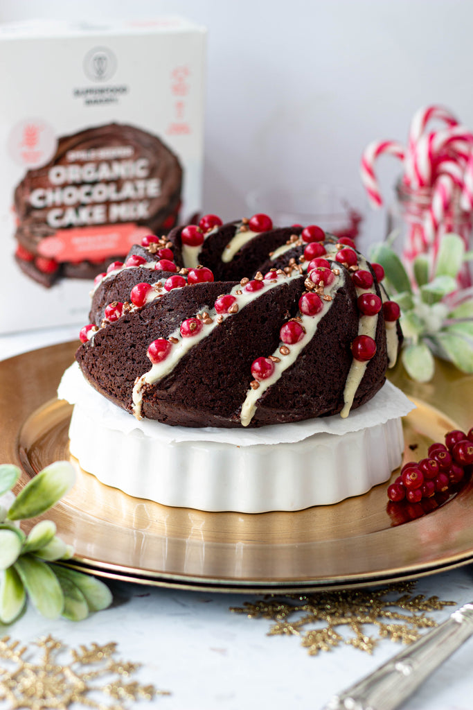 Chocolate Christmas Cake with Vanilla Protein Icing