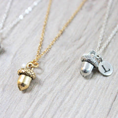 Silver and Gold Acorn Necklace with letter charm