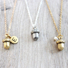 Personalised Silver and Gold Acorn Necklace