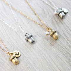 Personalised Silver or Gold Acorn Necklace