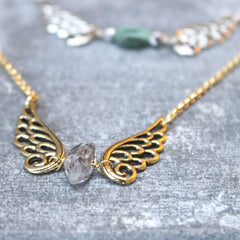 Angel Wing Birthstone Gold Necklace