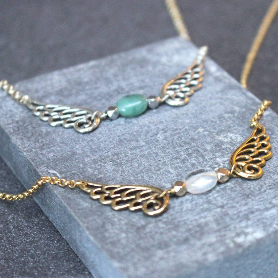 Gold and Silver Angel Wing Birthstone Necklace