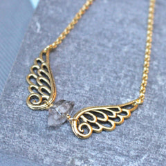 Gold Angel Wing Birthstone Necklace
